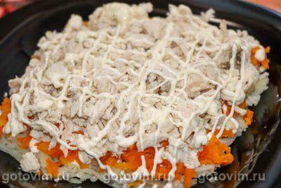 Салат «Сугробы» с курицей, яйцом и сыром
