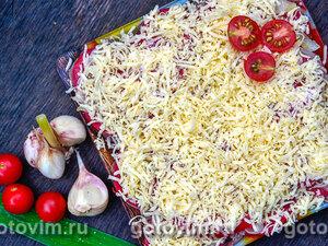 Слоеный салат из языка с овощами «Язык дракона»