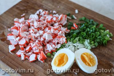 Салат из крабовых палочек с рисом и кукурузой, Шаг 01