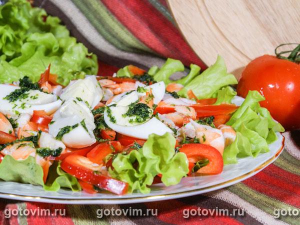Салат из креветок с яйцом. Фотография рецепта