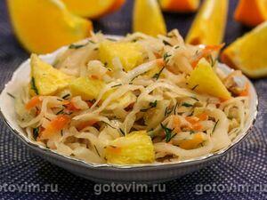 Салат из квашеной капусты с апельсином и грецкими орехами