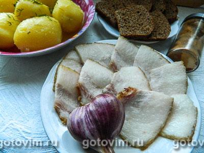 Фотография рецепта Сало копченое вареное
