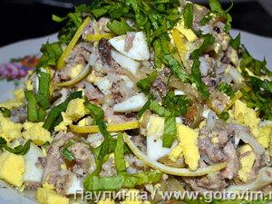 Горячий рыбный салат