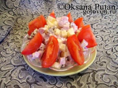 рецепт салата из баклажан с сыром и помидорами