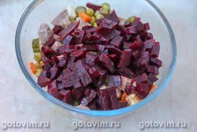 Салат из языка со свеклой и овощами, Шаг 06