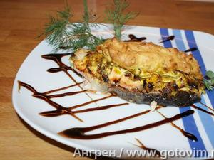 Семга, запеченная с пореем и картофельным пюре