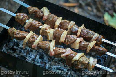 Шашлык из печени с салом, Шаг 06