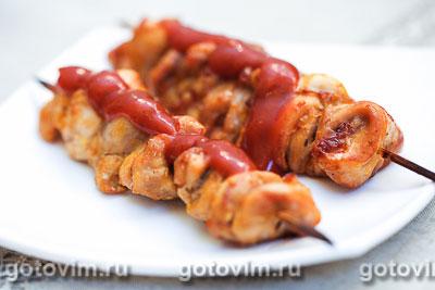 Куриные шашлычки на шпажках в духовке. Фотография рецепта