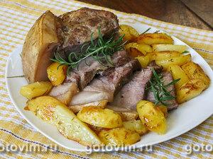 Свиная шейка с картофелем в рукаве