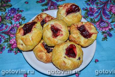 Сладкие булочки с малиновым повидлом. Фотография рецепта