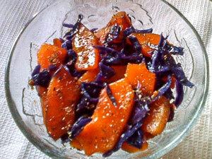 Теплый салат с краснокочанной капусты и тыквы