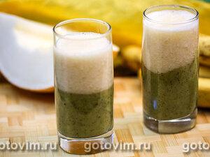 Слоеный смузи из киви, дыни и банана