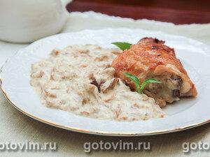 Куриные окорочка в духовке с грибным соусом с сыром