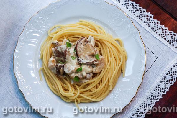 Рецепт спагетти с соусом из грибов с фото