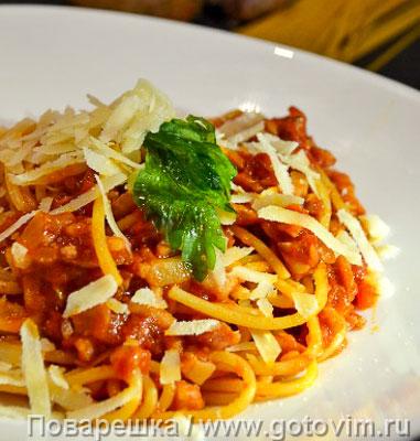 Спагетти под соусом аматричана. Фотография рецепта