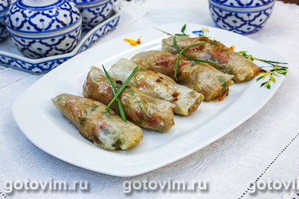 Овощные спринг-роллы с курицей - рецепт пошаговый с фото