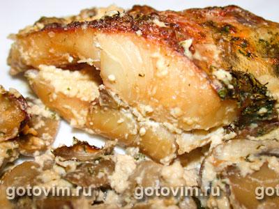 Судак, запеченный с грибами и сливками. Фотография рецепта