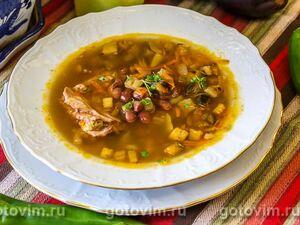 Суп с баклажанами и фасолью