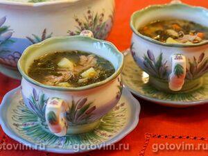 Суп из бараньих ребрышек с картошкой, кале и грибами