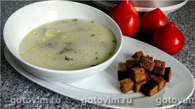 Суп с брынзой в мультиварке. Фотография рецепта