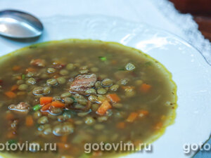 Суп из зеленой чечевицы с беконом