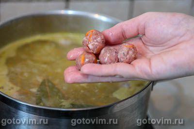 Суп с фрикадельками и зеленым горошком, Шаг 09