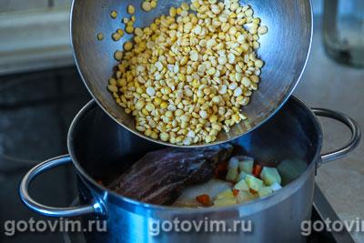 Гороховый суп с копчеными ребрышками и сырными гренками, Шаг 03