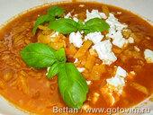 Суп из корнеплодов с чечевицей и сыром фета
