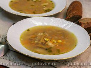Суп куриный с лисичками и кукурузой