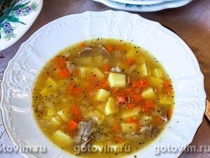 Суп из куриных желудков с пшеничной крупой