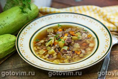 Суп из куриных желудочков с овощами. Фотография рецепта
