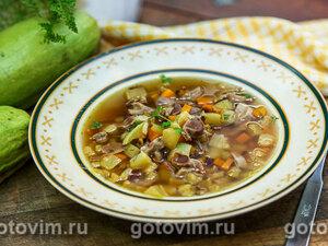Суп из куриных желудочков с овощами
