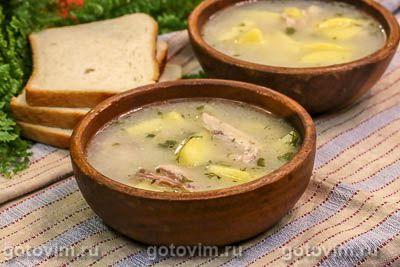 Осетинский белый суп из курицы с мучной болтушкой (Лывжа или лывза)