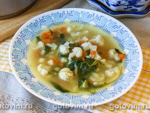 Овощной суп из цветной капусты со шпинатом