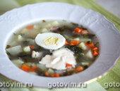 Суп щавелевый с вареным яйцом