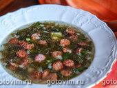 Суп щавелевый с копчеными колбасками