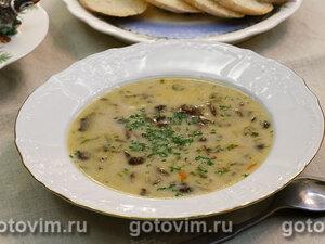 Суп из опят с плавленым сыром