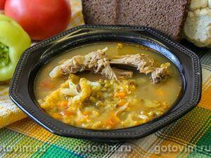 Суп из свиных ребрышек с машем и цветной капустой