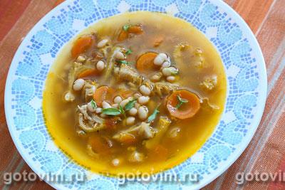 Густой суп из рубца с белой фасолью (Zuppa di fagioli e trippa). Фото-рецепт