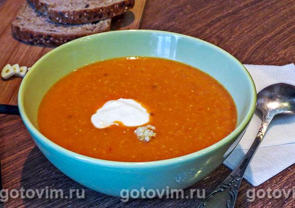Суп-пюре с томатом и морковью на сливках. Фотография рецепта