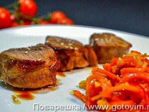 Свиная вырезка в соусе терияки с пряными овощами