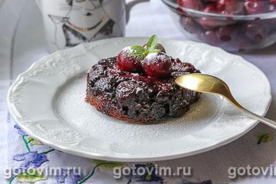 Фотография рецепта Шварцвальдский пирог-перевертыш с вишней