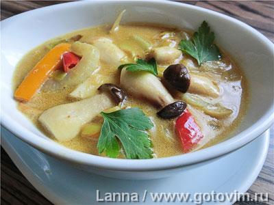 Фотография рецепта Тайский суп с грибами и кокосовым молоком
