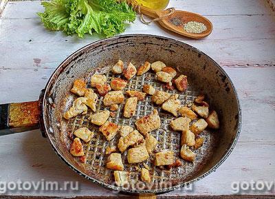 Тёплый салат из курицы с грибами и овощами, Шаг 02