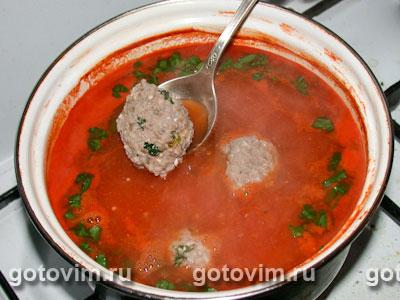 Томатный суп с фрикадельками, Шаг 07
