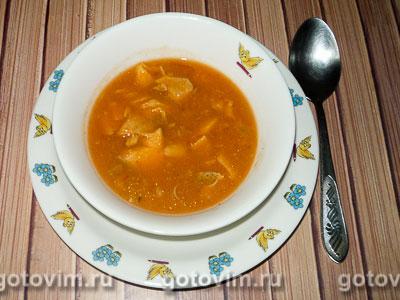 Томатный крем-суп с рыбой. Фотография рецепта