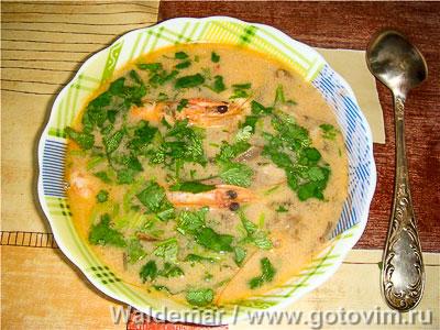 Фотография рецепта Тайский суп Том Ям с креветками, грибами  и кокосовым молоком