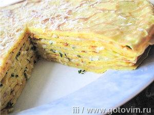 Блинный тыквенный торт с прослойкой из сыра