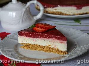 Желейный творожно-клубничный торт (без выпечки)