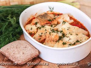 Треска в овощном соусе с печеным сладким перцем